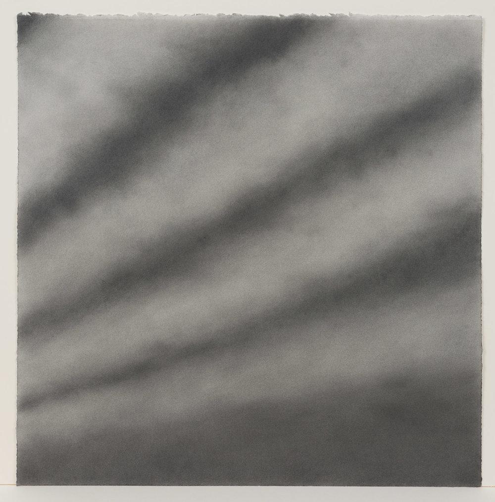 """Andréanne Godin, #04 : History of a Landscape (Variation VI)  de la série  Descriptions de paysages , 2015, poudre de graphite sur papier Arches,24"""" x 24"""" (61 x 61 cm)."""