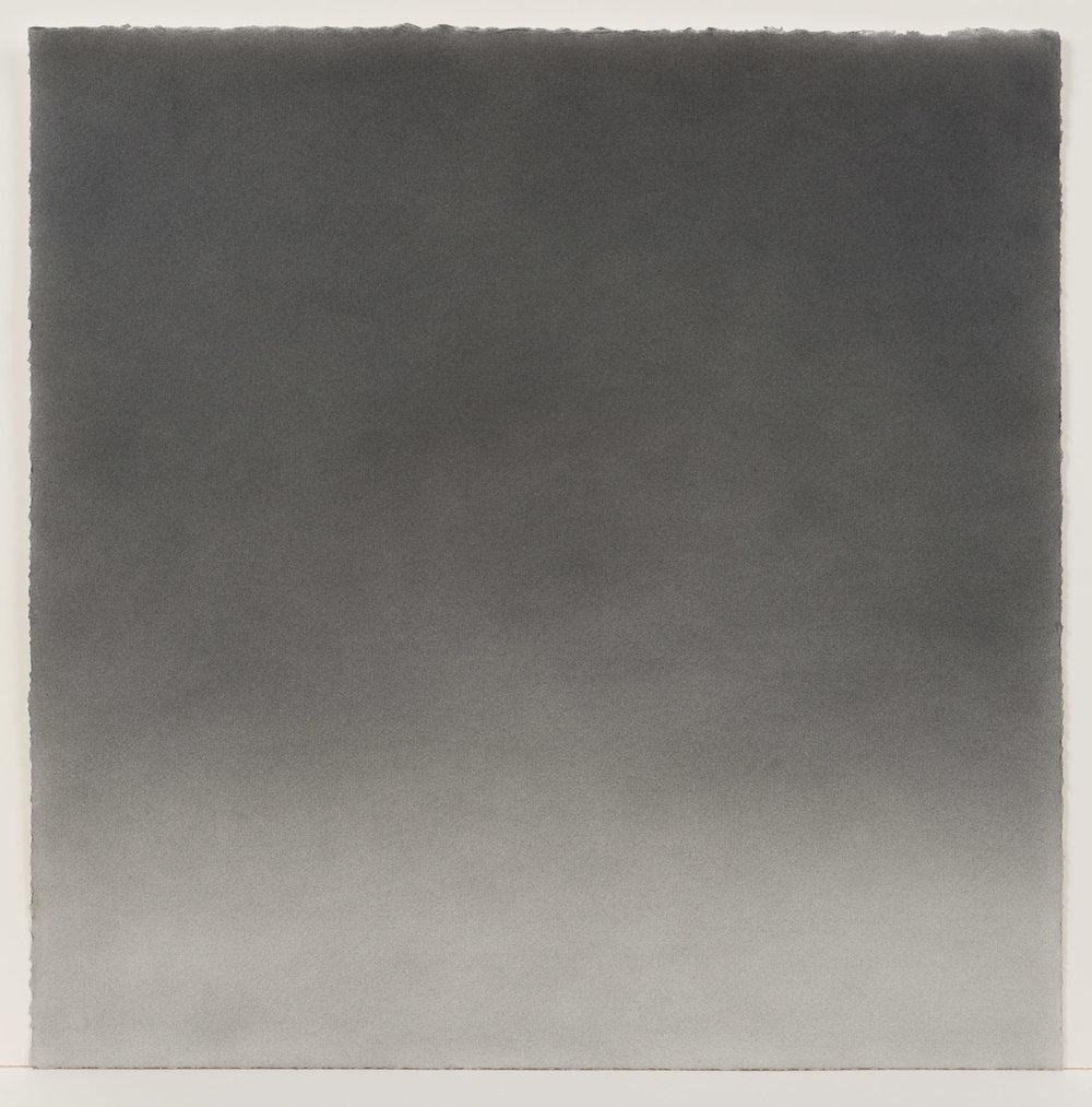 """Andréanne Godin, #04 : History of a Landscape (Variation II)  de la série  Descriptions de paysages , 2015, poudre de graphite sur papier Arches,24"""" x 24"""" (61 x 61 cm)."""