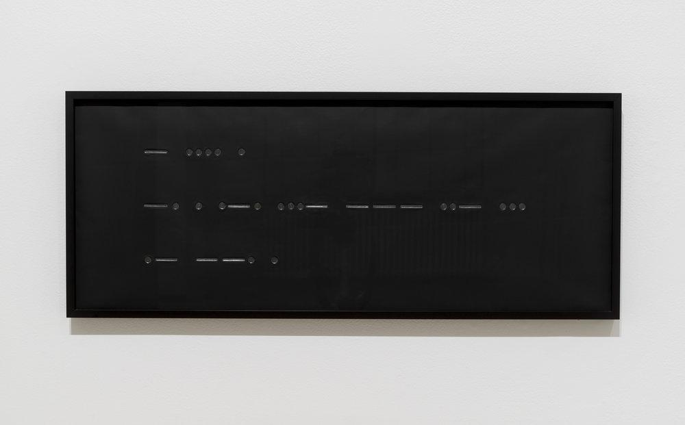 """Carl Trahan,  The Nervous Age (L'ère de la nervosité) , 2015, graphite sur aluminium peint en noir, 31 x 75 cm (12"""" x 29"""") encadré"""