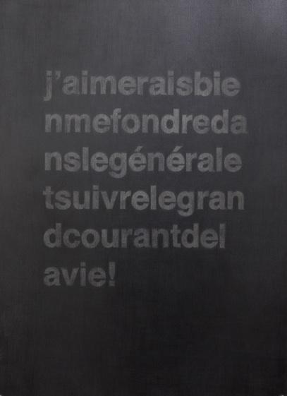"""Carl Trahan,  Extraits de LTI, français-allemand #1,  2011-2012, graphite sur papier, 76.5 x 56 cm (30"""" x 22"""")"""