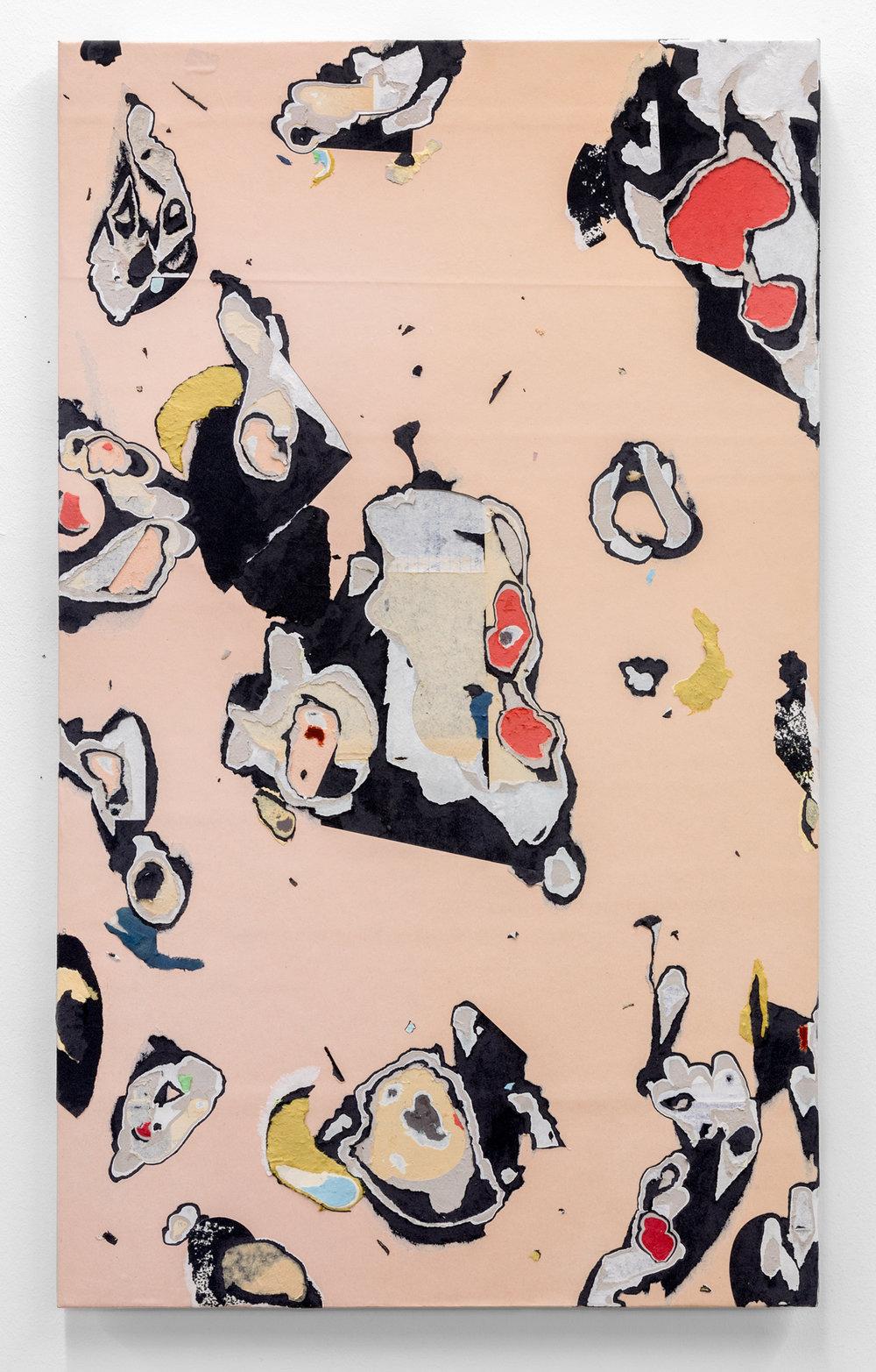 """Jacob Whibley, lonely mountains gaze , 2017, papiers trouvés sur panneau,76 x 46 cm (30"""" x 18.25"""""""