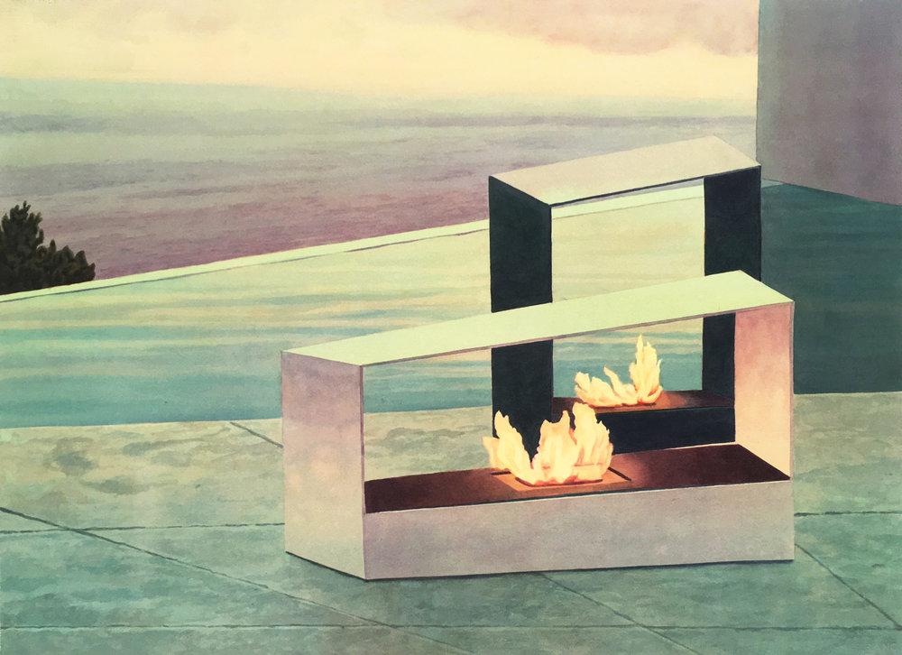 """Tristram Lansdowne,  New Horizons IV , 2016, aquarelle sur papier dans un cadre fait par l'artiste, 54 x 74 cm (21"""" x 29"""")"""