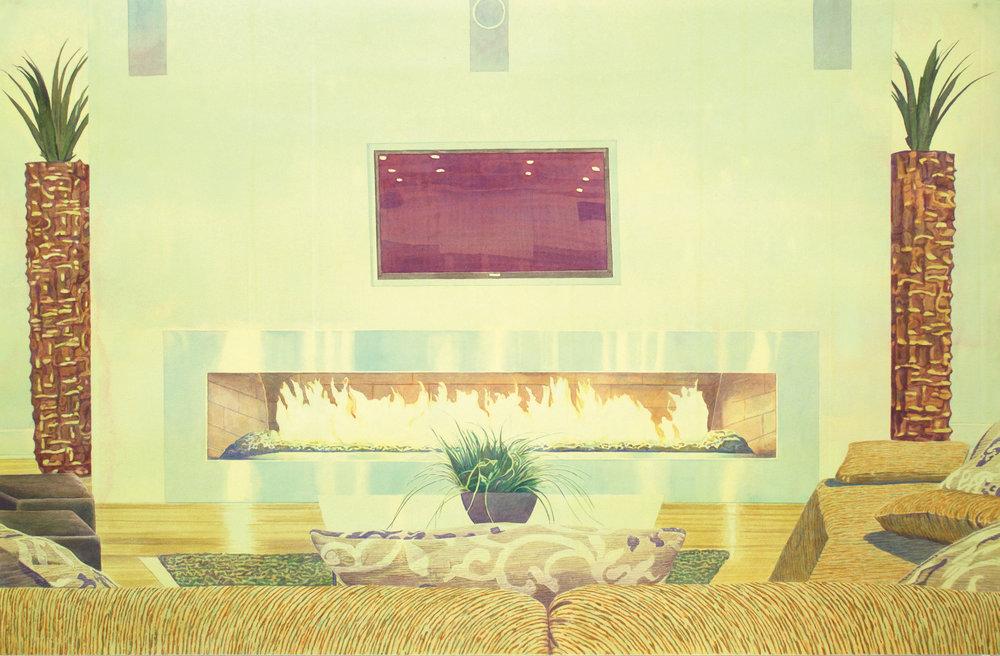 """Tristram Lansdowne,  New Horizons II , 2016, aquarelle sur papier dans un cadre fait par l'artiste, 72 x 110.5 cm (28.5"""" x 43.5"""")"""