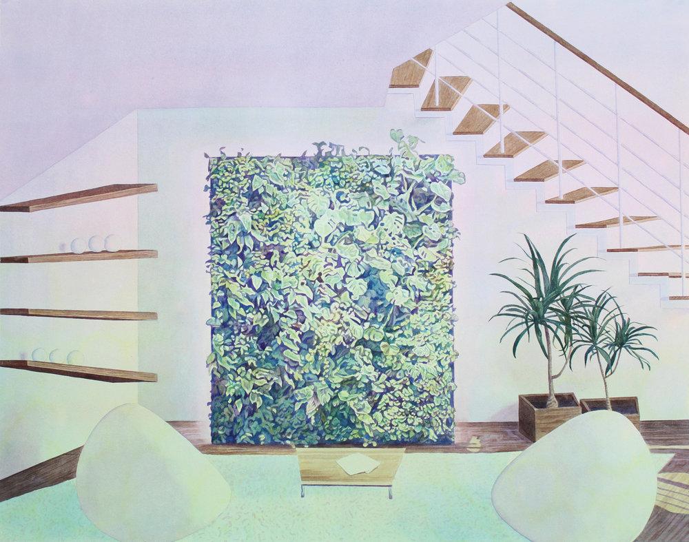 """Tristram Lansdowne,  Perpetual Growth , 2016, aquarelle sur papier dans un cadre fait par l'artiste, 69 x 88 cm (27.5"""" x 34.5"""")"""