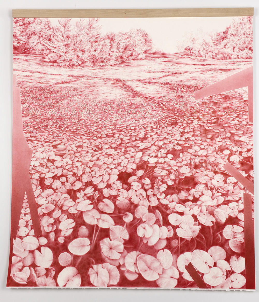 """Andréanne Godin, Sans titre  (de la série  Les chemins de résistance ), 2017, pigments secs (rouge pyrrole) sur papier Arches,51"""" x 45"""" (129 x 114 cm)"""