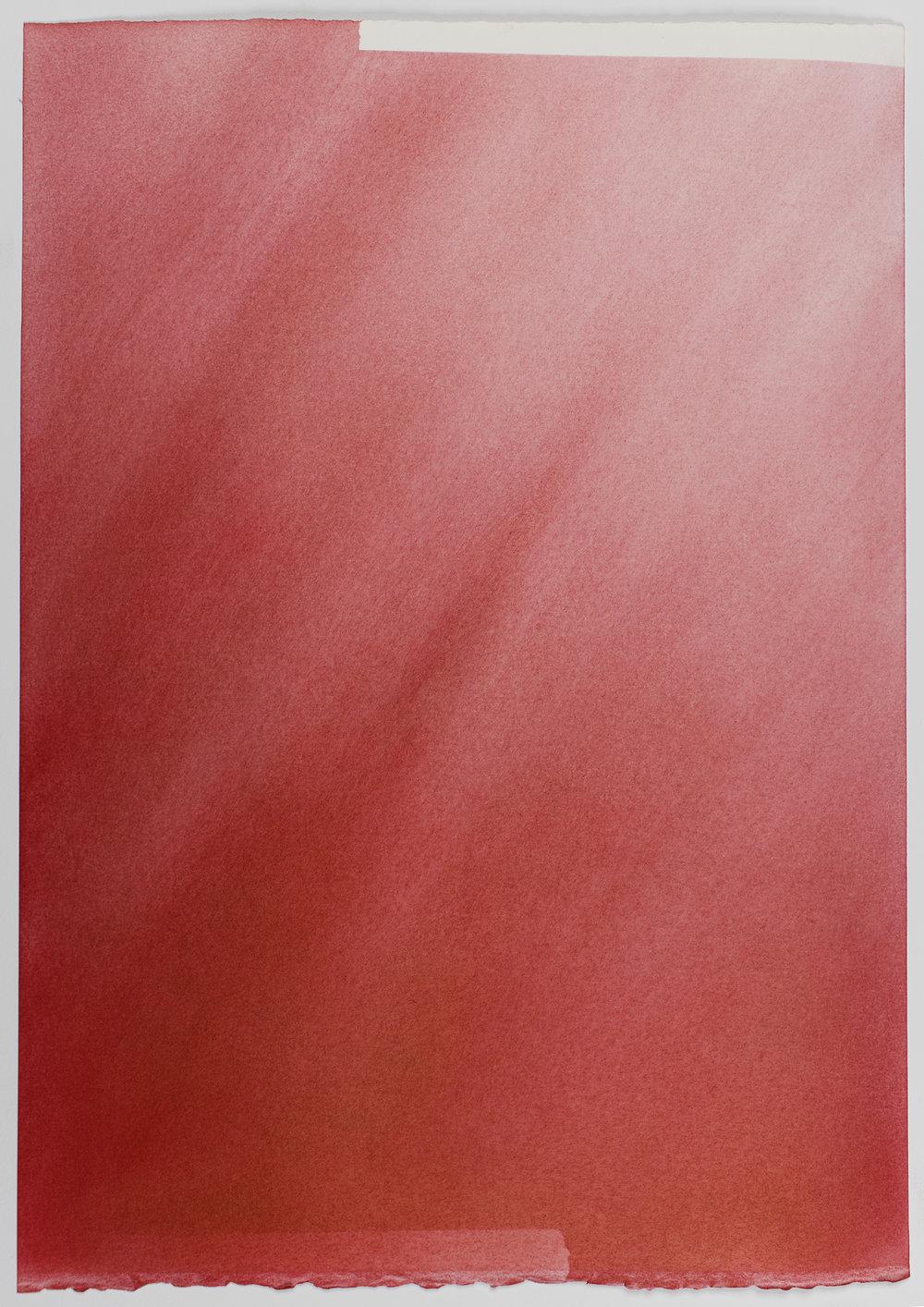 """Andréanne Godin, Sans titre IV  (de la série  Les chemins de résistance ), 2017, pigments secs (rouge pyrrole) sur papier Arches,16"""" x 13"""" (41 x 33 cm)."""
