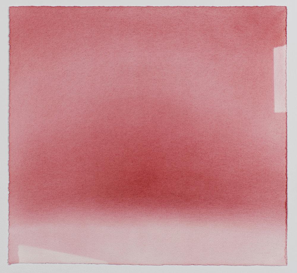 """Andréanne Godin,  Sans titre IX  (de la série  Les chemins de résistance ), 2017, pigments secs (rouge pyrrole) sur papier Arches, 8"""" x 8.5"""" (20 x 21.5 cm)."""