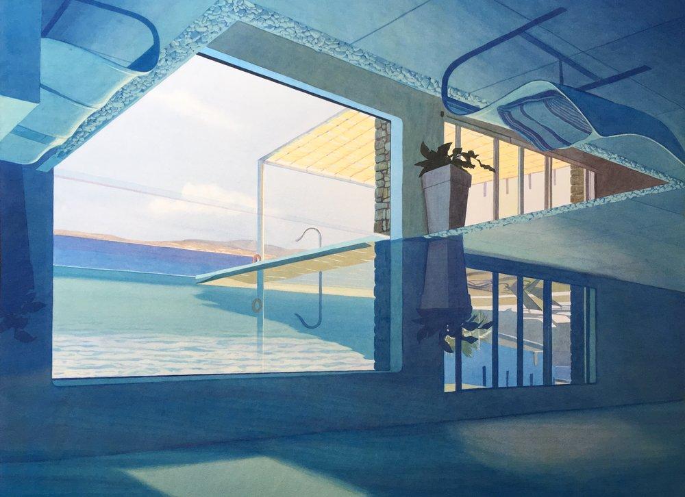 """Tristram Lansdowne,  Vacation Home , 2017, aquarelle sur papier, 30"""" x 39"""" (76 x 99 cm)."""