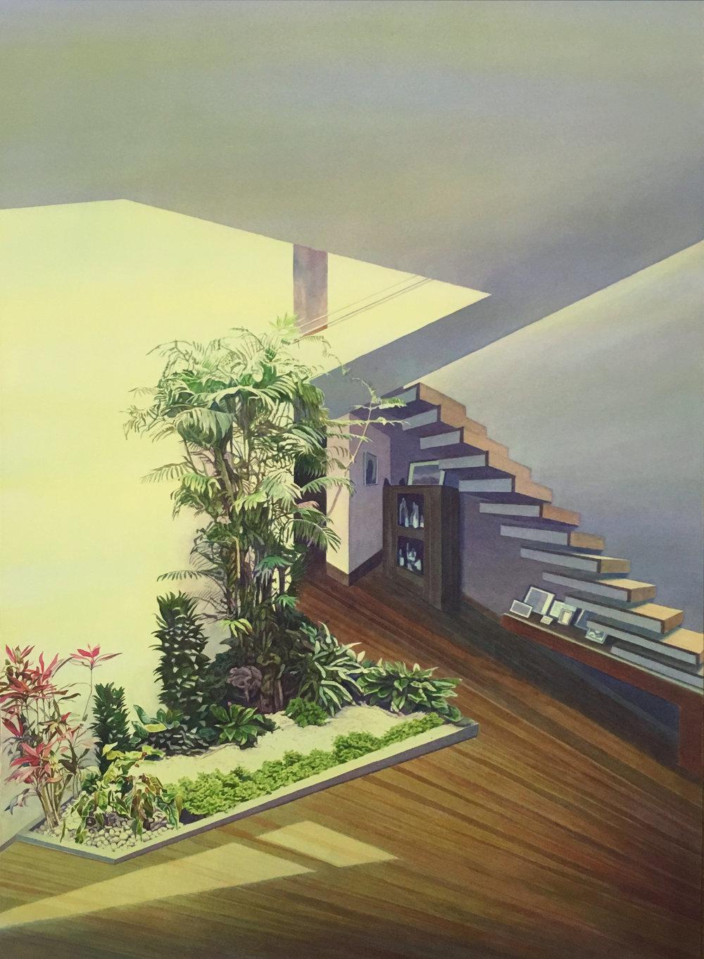 """Tristram Lansdowne,  Wip , 2017, aquarelle sur papier dans un cadre fait par l'artiste, 86 x 63.5 cm (25"""" x 34"""")"""