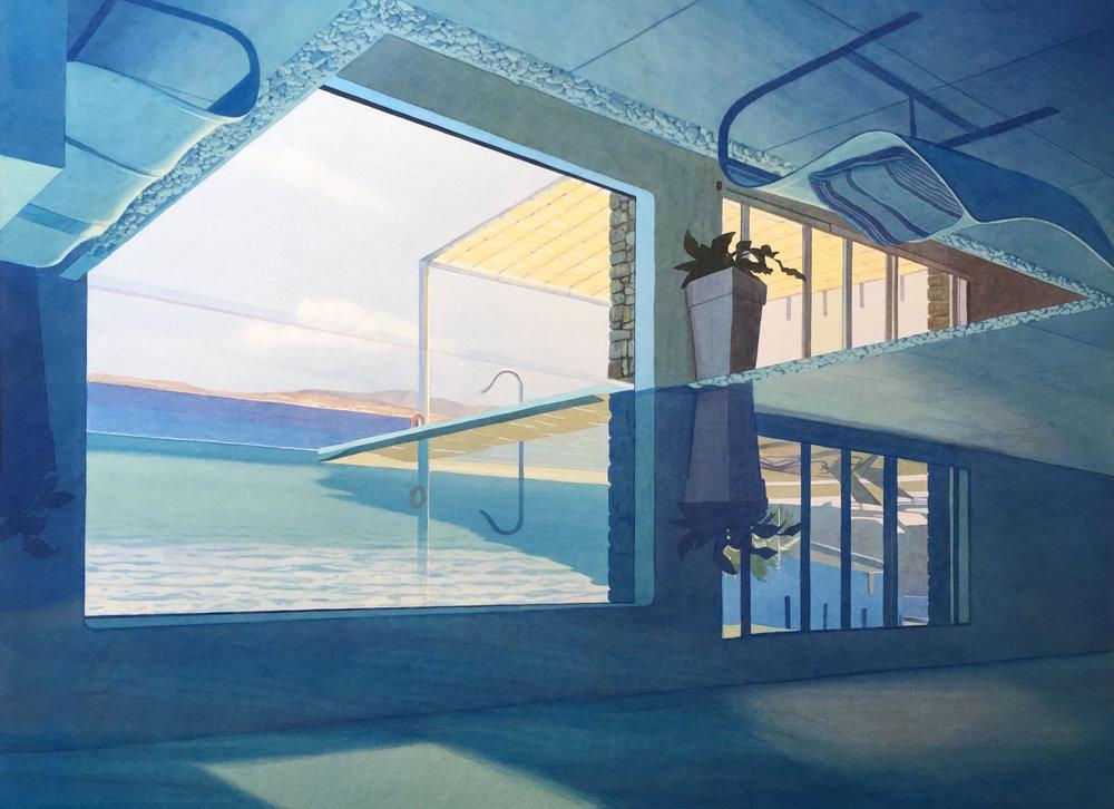 """Tristram Lansdowne,  Vacation Home , 2017,aquarelle sur paper, cadre peint par l'artiste, 30"""" x 39"""" (76 x 99 cm)."""