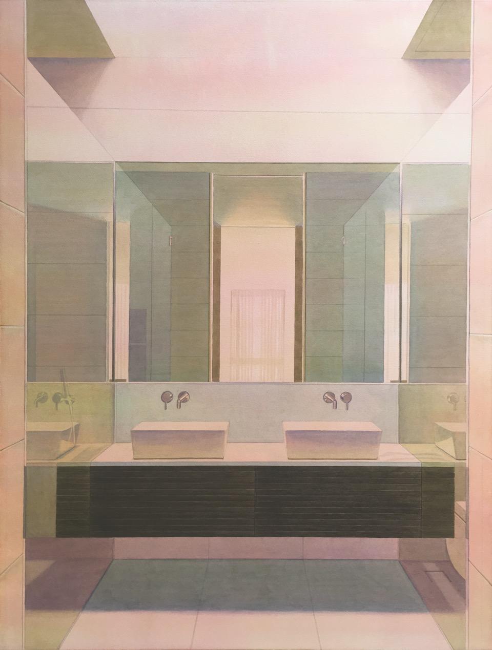 """Tristram Lansdowne,  Vanity , 2017, aquarelle sur papier, cadre peint par l'artiste,40"""" x 30"""" (102 x 76 cm)."""
