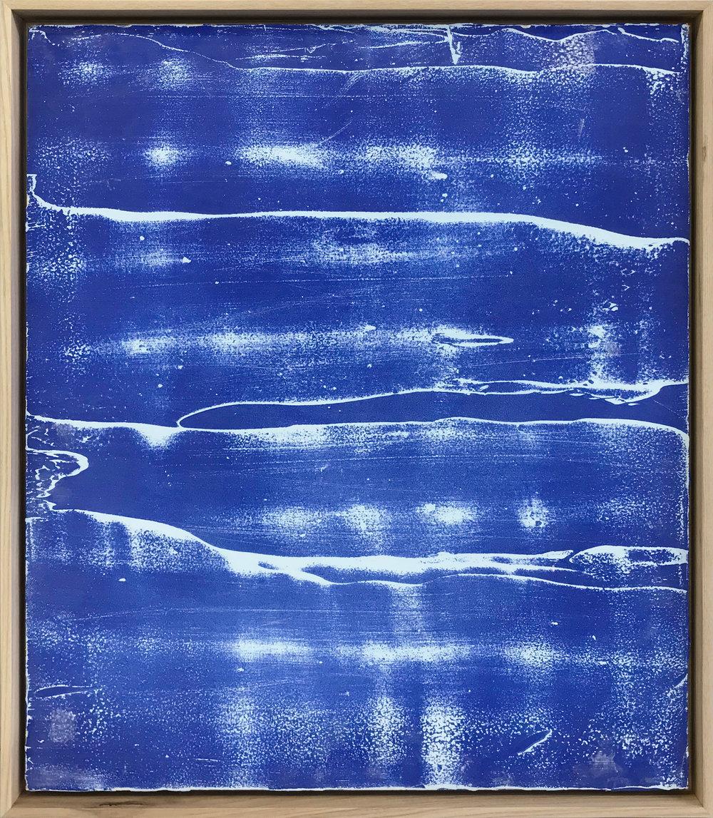 """Pierre Julien,  Blueprints Shadows 2 , 2017, plâtre et peinture aérosol sur gypse ,24"""" x 20"""" (61 x 51 cm) ."""