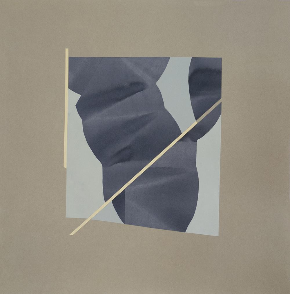 """Simone Rochon, Ombres souples (greffe mauve) , 2017, collage, encre acrylique sur papier Waterford,26"""" x 25.5"""" (66 x 65 cm)."""