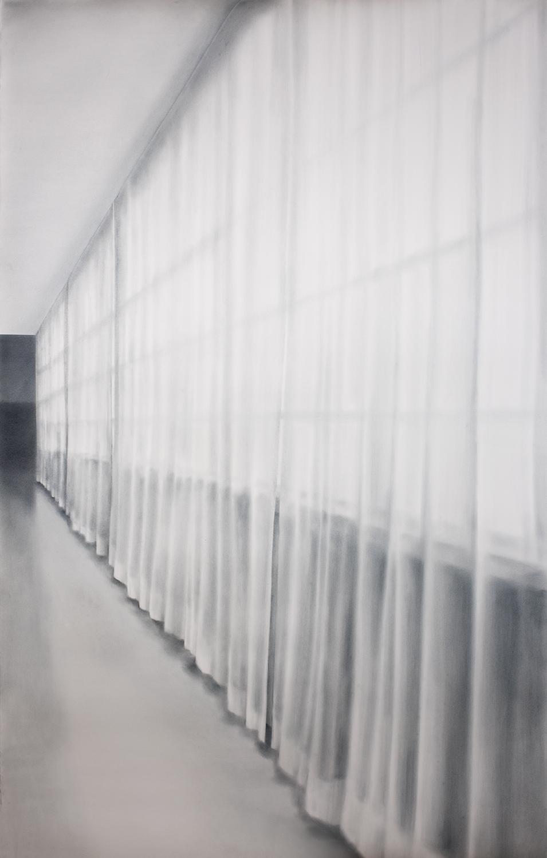 """Andréanne Godin,  On the Other Side , 2018, pigments secs (Bleu de Prusse et pourdre de graphite) sur papier Arches, 183 x 112 cm (72"""" x 44.75"""")"""