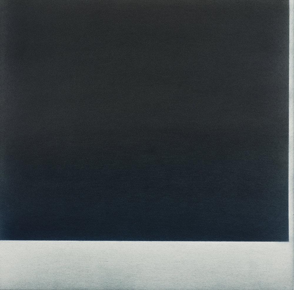 """Andréanne Godin,  Sans titre VI (de la série On Our Way To The Boarder) , 2018, pigments secs (Bleu de Prusse et brun Van Dyke sur papier Arches, 30 x 30 cm (12"""" x 12"""")"""