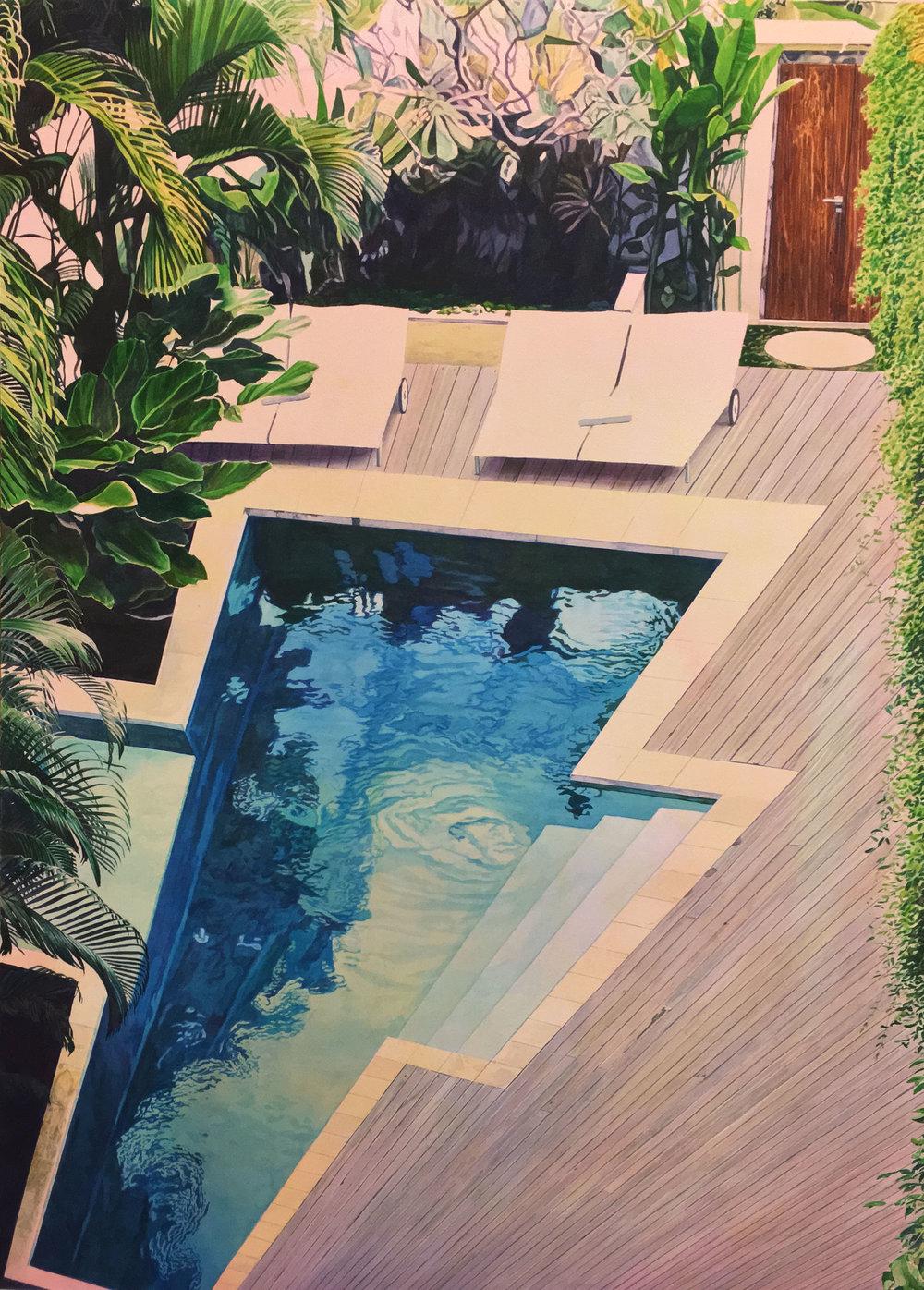 """Tristram Lansdowne,  Fixed Rate , 2018, aquarelle sur papier dans un cadre fait par l'artiste, 109 x 76 cm (43"""" x 30"""")"""