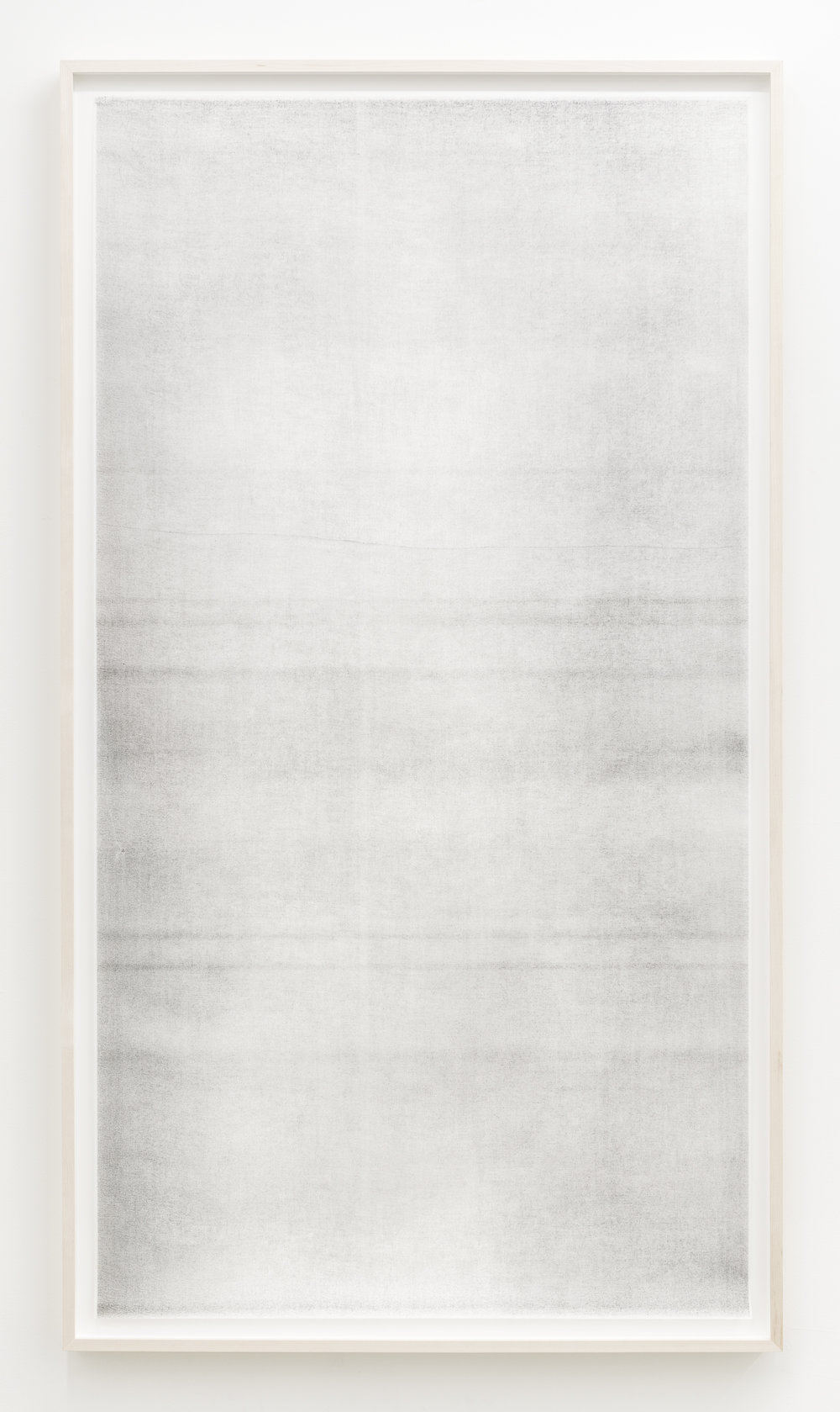 "Sans titre (when it settles #3 from the series A Certain Silence), 2017, huile, graphite et fusain sur tarlatan, 150 X 89 cm (59 X 35"")"