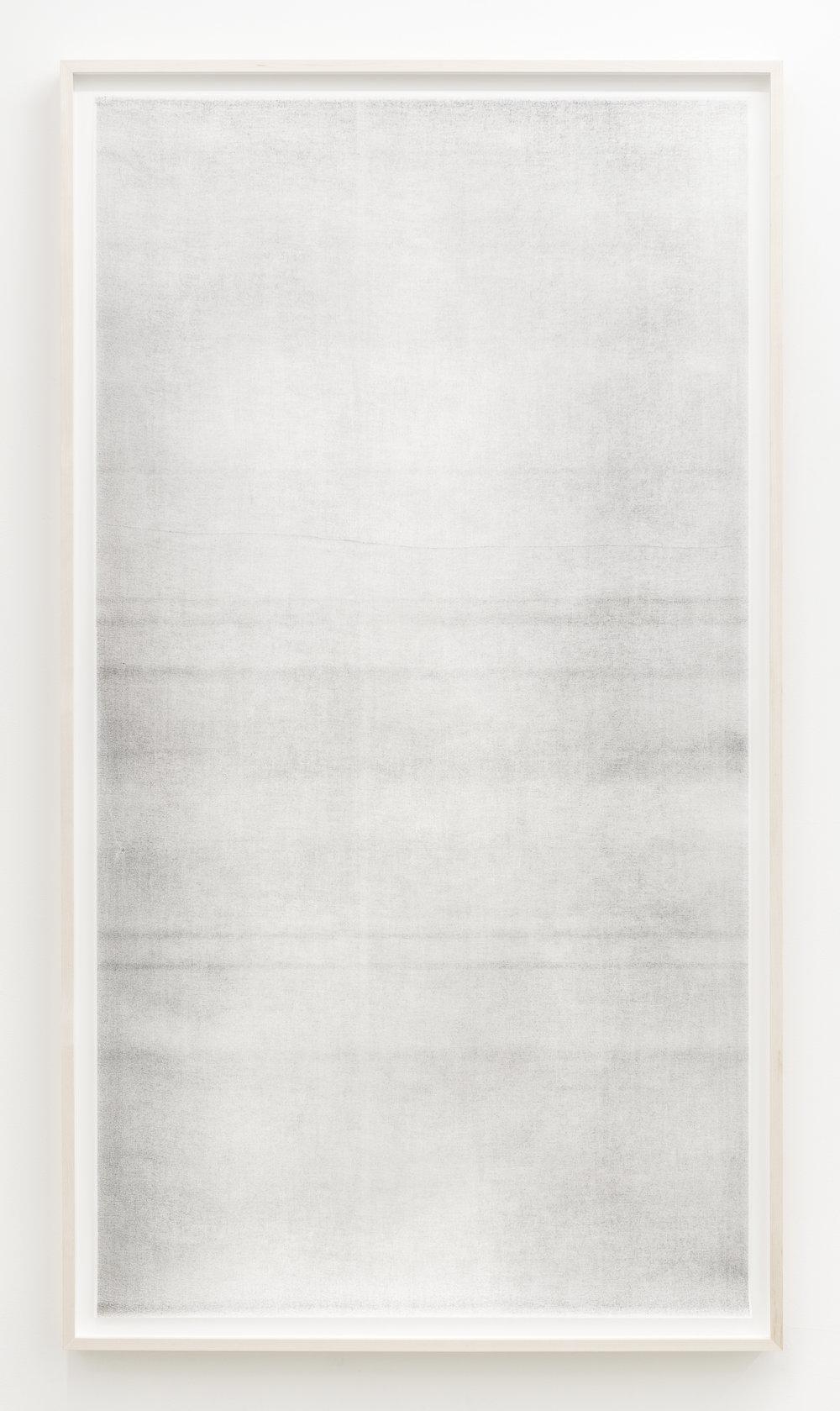 """Jim Verburg,  Sans titre (when it settles #3 from the series A Certain Silence) , 2017, huile, graphite et fusain sur tarlatan, 150 x 89 cm (59"""" x 35"""")"""