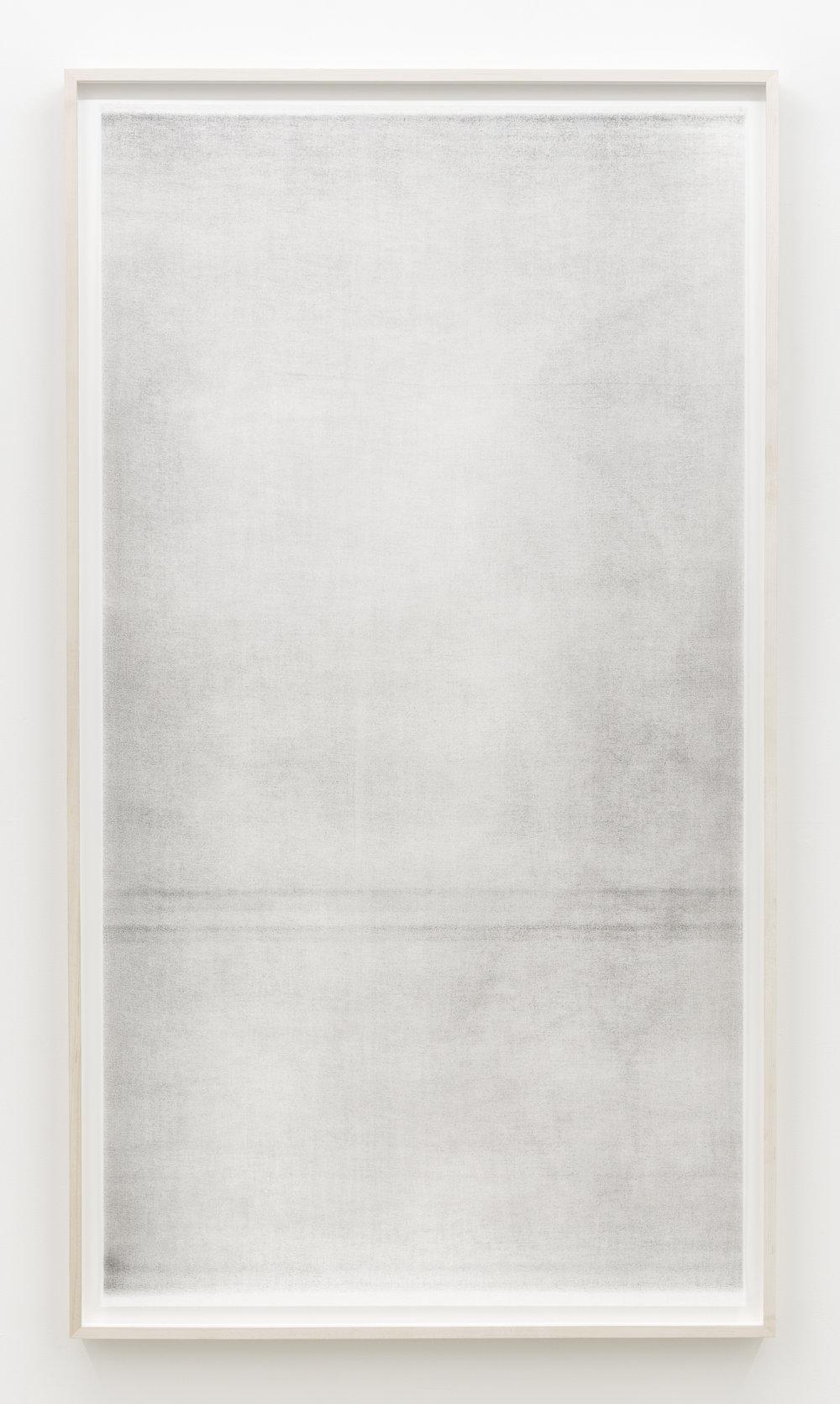 """Jim Verburg,  Sans titre (when it settles #4 from the series A Certain Silence) , 2017, huile, graphite et fusain sur tarlatan, 150 x 89 cm (59"""" x 35"""")"""
