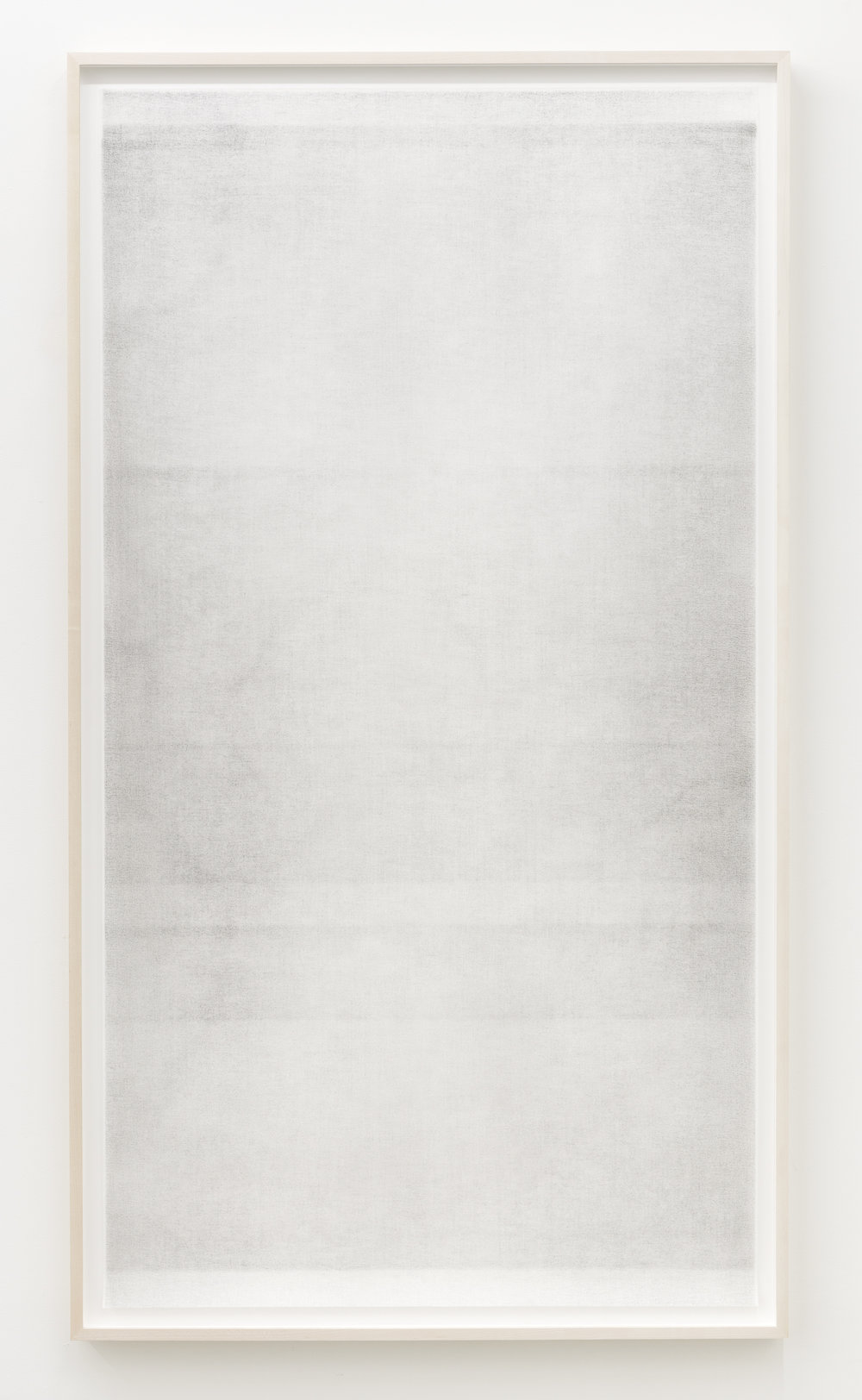 "Sans titre (when it settles #5 from the series A Certain Silence), 2017, huile, graphite et fusain sur tarlatan, 150 X 89 cm (59 X 35"")"