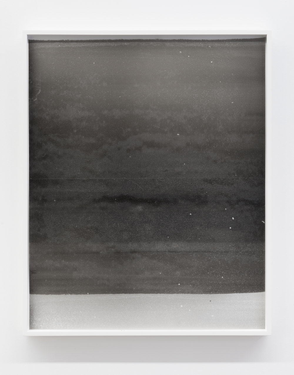 """Sans titre (clouded), 2018, huile et peinture métallique sur mylar, 64 X 51 cm (26 X 21"""")"""
