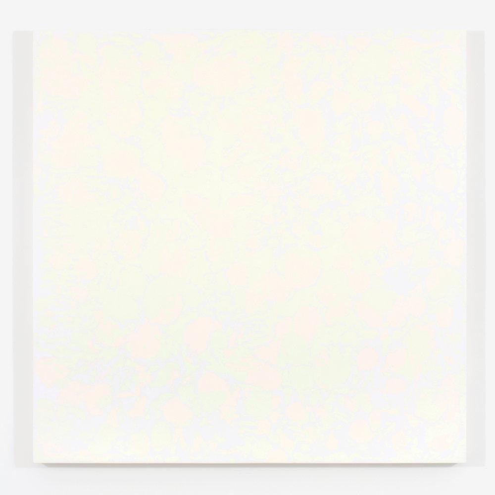 """Purple Haze / The gathering of the clouds no. 5, 2015, plâtre et acrylique sur panneau de bois, 122 X 122 cm ( 48 X 48"""")"""