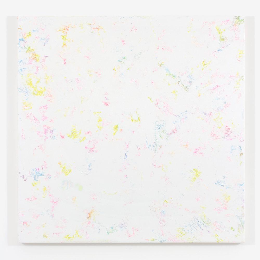 """White Matter no. 1, 2015, plâtre et acrylique sur panneau de bois, 122 X 122 cm ( 48 X 48"""")"""