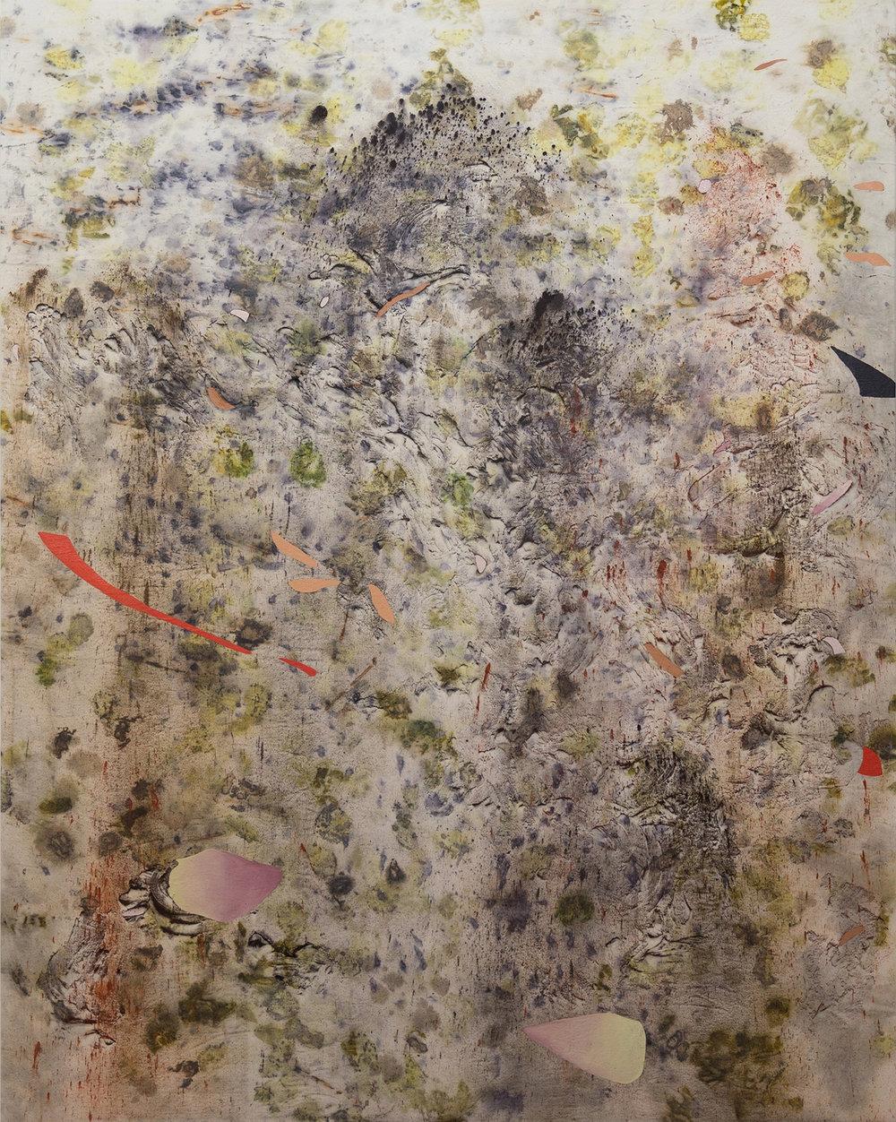 """Gillian King, Mourning Humuss,  2018, médium à cire froide, huile, pigments bruts et divers matériaux végétaux (gland, fosses d'avocat, baies de Sumac,pétales de roses, peaux d'oignon, fleurs de tanaisie, fleurs sauvages, et sédiments de rouille) sur toile, 152 x 122 cm (60"""" x 48"""")"""