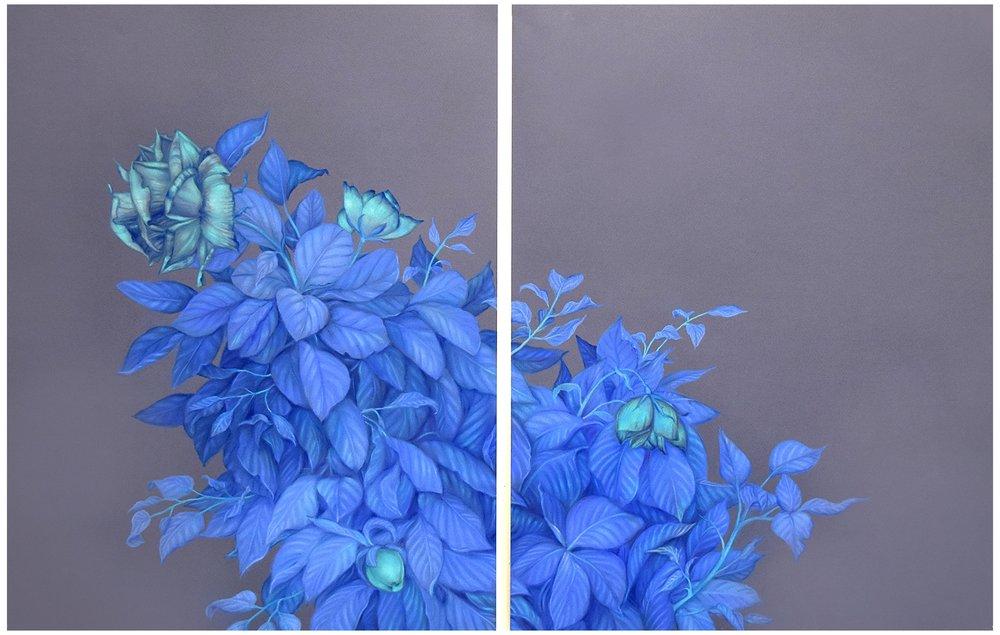 """Zachari Logan,  Moon Roses, (after Debussy / after Verlaine) , 2018, pastel sur papier bleu, 112 x 76 cm (44"""" x 30"""")"""