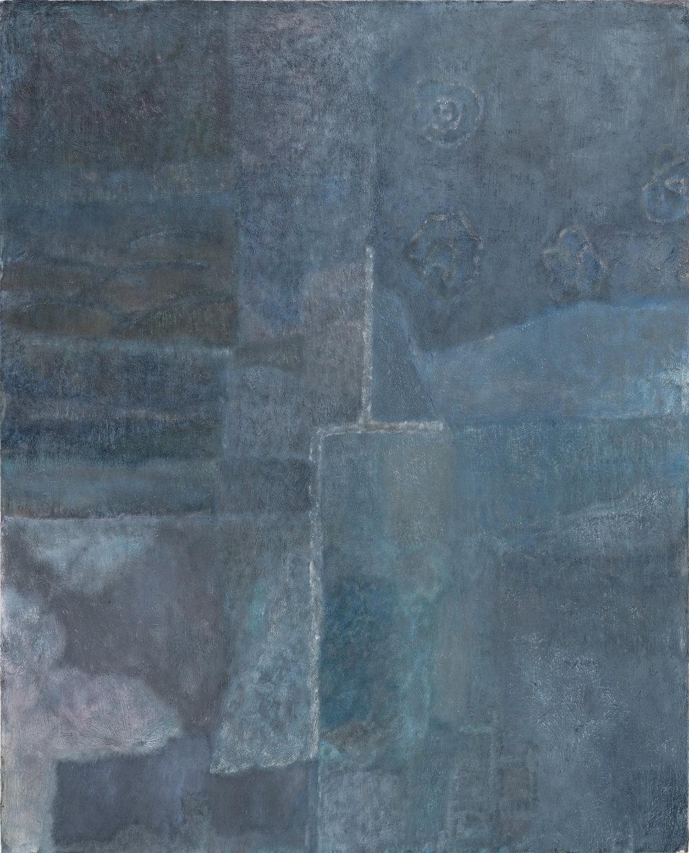 """Laurence Pilon, Patchwork,  2018, huile sur panneau, 76 X 61 cm (30 X 24"""")"""
