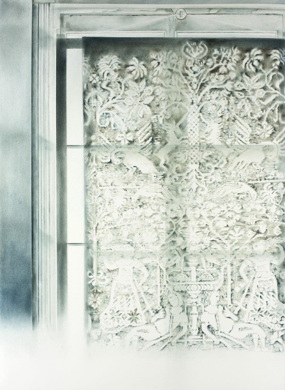 """Andréanne Godin,  Pyrame et Thisbé, de la série 207 rang de l'Embarras , 2018, pigments secs sur papier Arches, 107 x 79 cm (42"""" x 31"""")"""