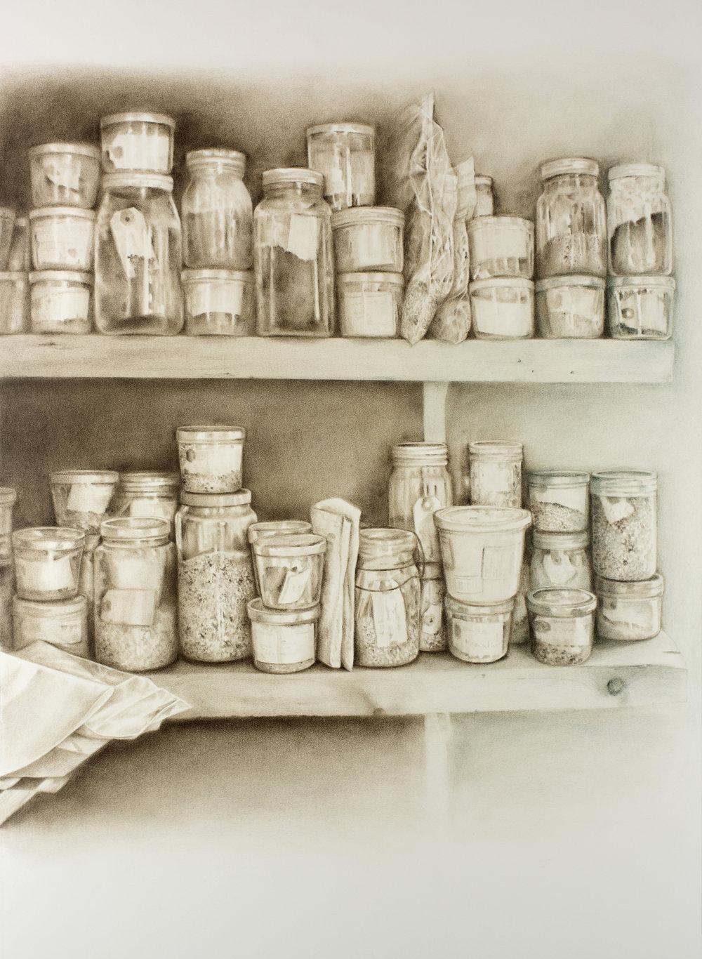 """Andréanne Godin,  La graineterie, de la série 207 rang de l'Embarras , 2018, pigments secs sur papier Arches, 107 x 79 cm (42"""" x 31"""")"""