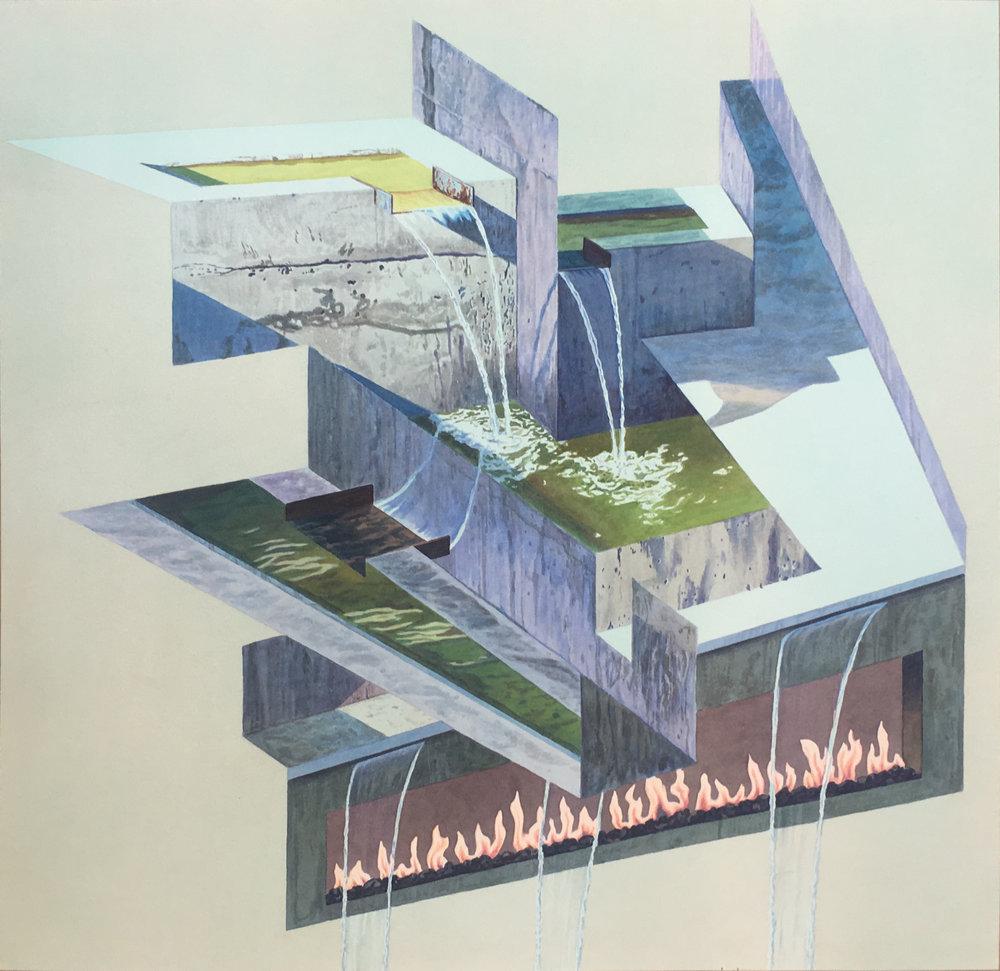 """Tristram Lansdowne,  Shrine , 2018, aquarelle sur papier dans un cadre fait par l'artiste, 63.5 x 63.5 cm (25"""" x 25"""")"""