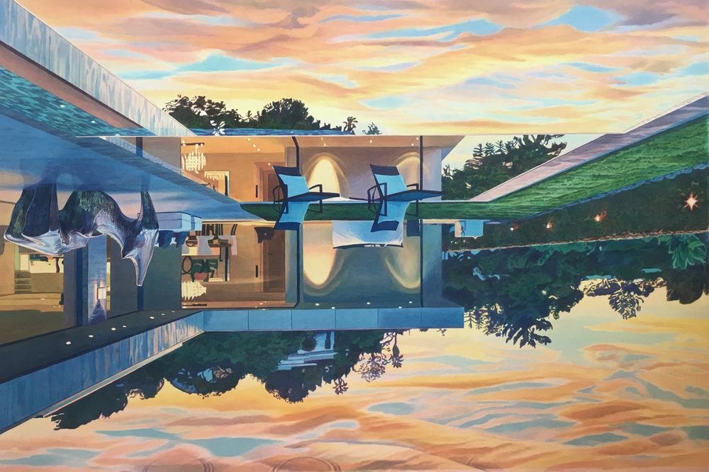 """Tristram Lansdowne,  Moore Money Moore Problems , 2018, aquarelle sur papier dans un cadre fait par l'artiste, 84 x 127 cm (33.5"""" x 50"""")"""