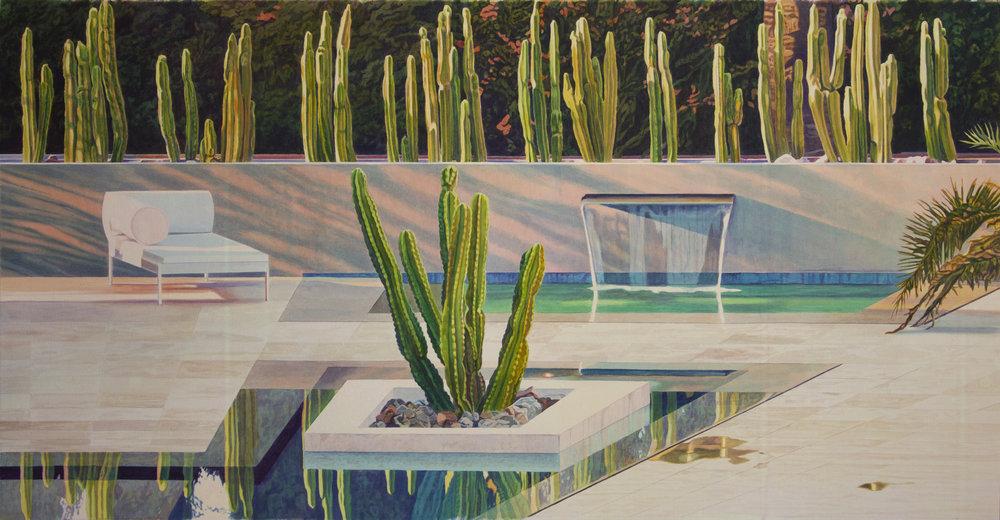 """Tristram Lansdowne,  Solitary , 2018, aquarelle sur papier, cadre peint par l'artiste, 66 x 127 cm (26"""" x 50"""")"""
