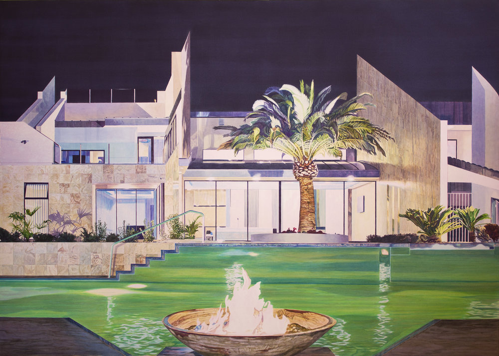 """Tristram Lansdowne,  Home Invasion , 2018, aquarelle sur papier, cadre peint par l'artiste, 110 x 156 cm (43.5"""" x 61.5"""")"""