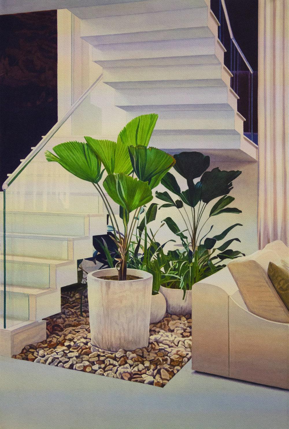 """Tristram Lansdowne,  When the growing is slow II , 2018, aquarelle sur papier, cadre peint par l'artiste, 65 x 44 cm (25.5"""" x 17.5"""")"""