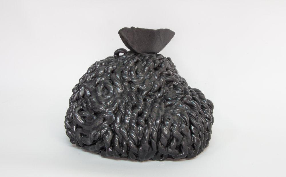 """Philippe Caron Lefebvre,  Mont noir à paillette arc-en-ciel,  2017, céramique, glaçure et peinture, 21 x 26 x 30 cm (8"""" x 10"""" x 12"""")"""
