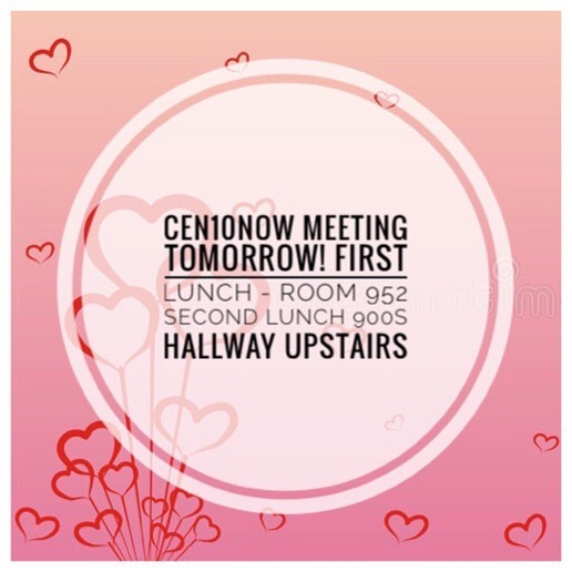 Be sure to attend our first meeting for February and last week's articles are due TONIGHT!! Please email articles by tonight to cen10now@gmail.com to get your community service!!