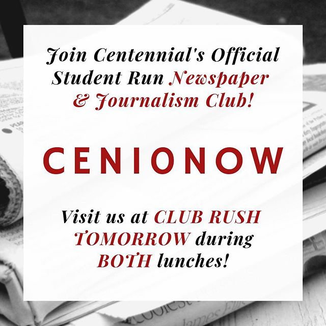 Are you interested in journalism and media? Want your voice to be heard at school? Then visit the Cen10Now booth tomorrow at club rush! #cen10huskies