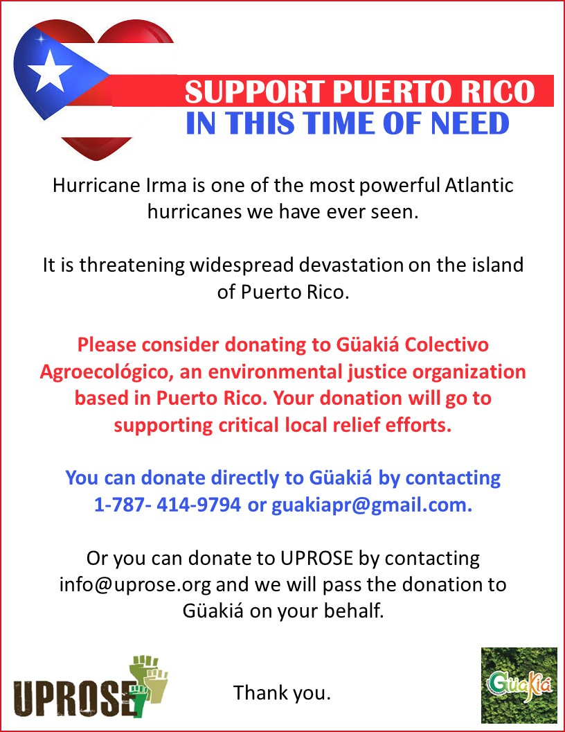Please support our families and friends in Puerto Rico.. - who have been in path of the devastating harm being wreaked by climate change. There has already been widespread devastation throughout the Puerto Rico. Waves of up to 30 feet were off the capital San Juan. More than half of the island's three million residents are without power and officials said many could be cut off for several days.