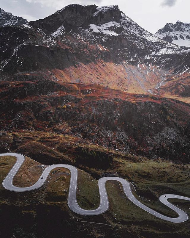 Serpentine - Pictured here is a section of the 'Julier Pass' situated in the Albula Range of the Swiss Alps, taken on a recent road trip for @abstractaerialart. The serpentine turns sure make for a great road trip and an excellent aerial image! Another beautiful part of an amazing country.