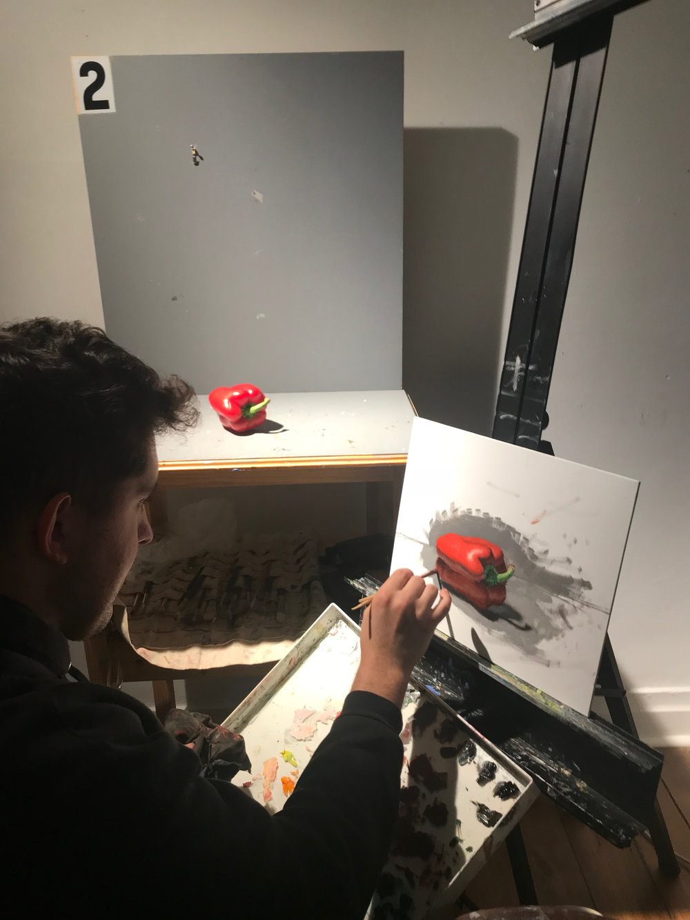 Student at work on Pepper Painting