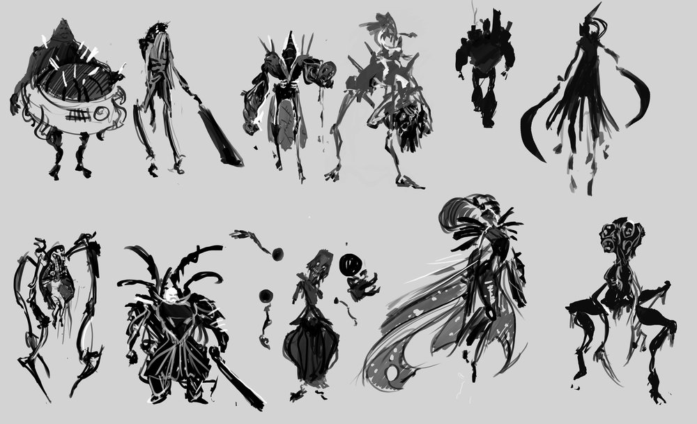 Exploratory sketches, brainstorming boss design