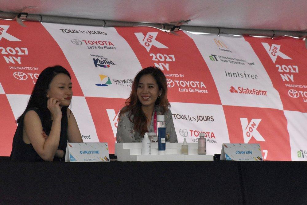 Christine Chang and Joan Kim giving skin care tips