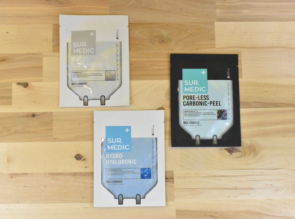 Bright- Glutathione Mask, Pore-less Carbonic- Peel Mask, and Hydro- Hyaluronic Mask - SURMEDIC