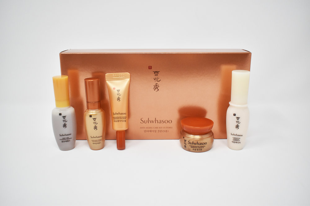 Sulwhasoo Sample Set  First Care Activating Serum EX, Capsulized Ginseng Fortifying Serum, Concentrated Ginseng Renewing Eye Cream, Concentrated Ginseng Renewing Cream EX, & Luminature Essential Finisher EX