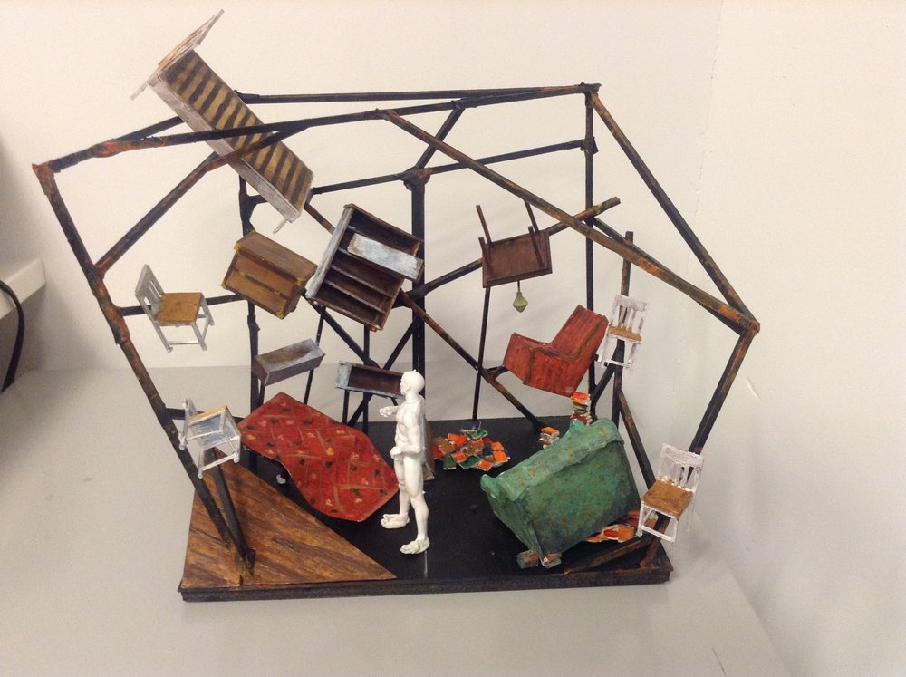 Scenery model created by Lina Berglund following our conversations.
