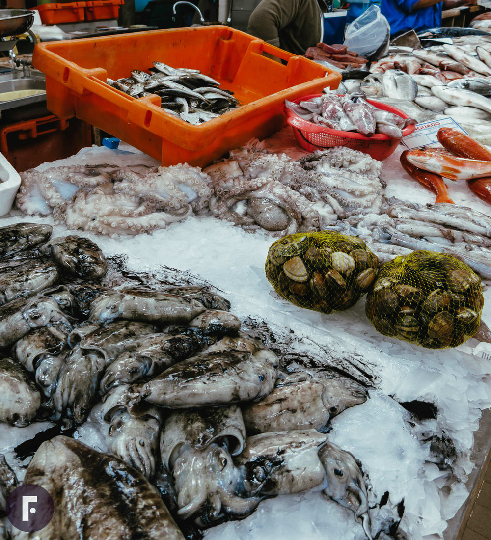 Fish vendor in Lisbon's fresh market