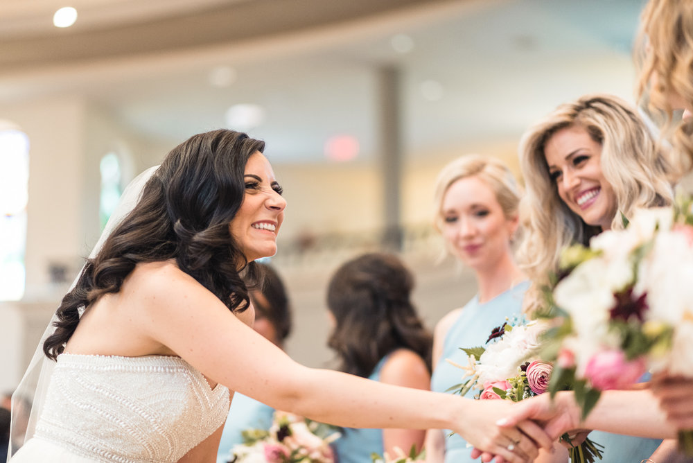 Bride and bridesmaids at ceremony